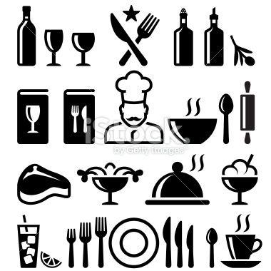 Restaurant and fine dining black & white vector icon set Royalty Free Stock Vector Art Illustration