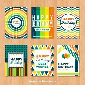 Colección de tarjetas abstractas de colores de feliz cumpleaños