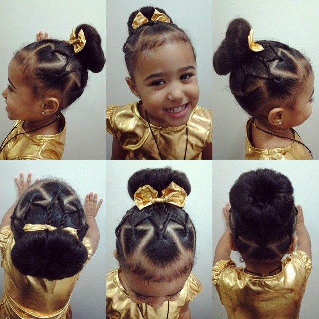 Little girls hairstyle, New year air bun