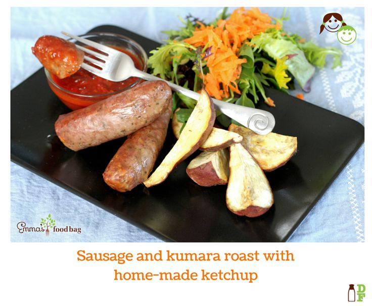 Sausage and kumara roast with home-made ketchup
