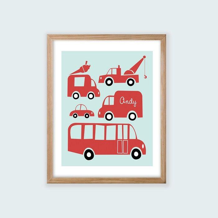 Boys Printable Personalised Wall Art. Automobiles.
