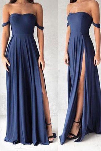 dress off the shoulder prom dress off the shoulder dress blue dress side split maxi dress side split dress