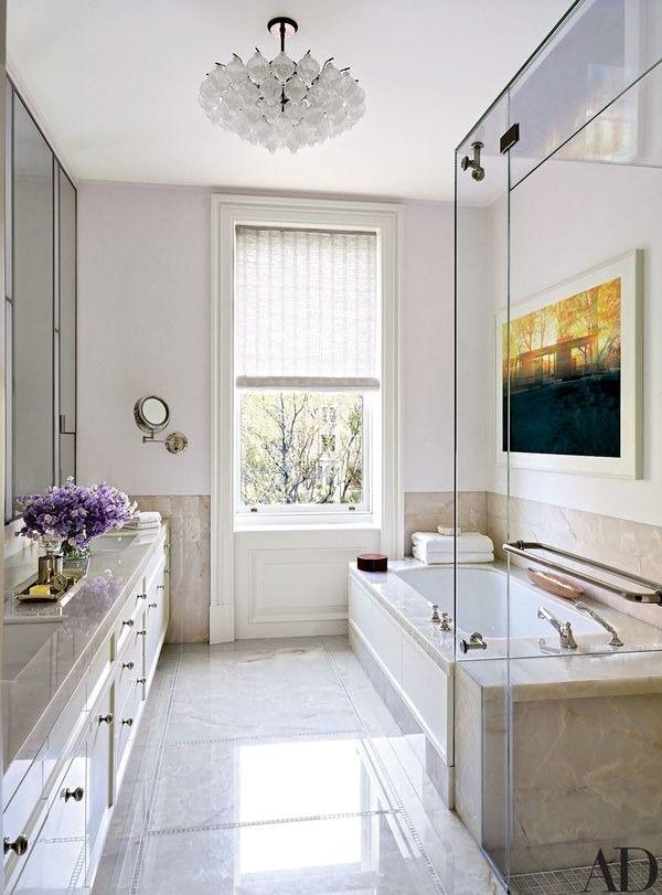 The Art Gallery A Historic Boston Townhouse Gets a Glam Update Bathroom ChandelierChandelier IdeasChandeliersBest