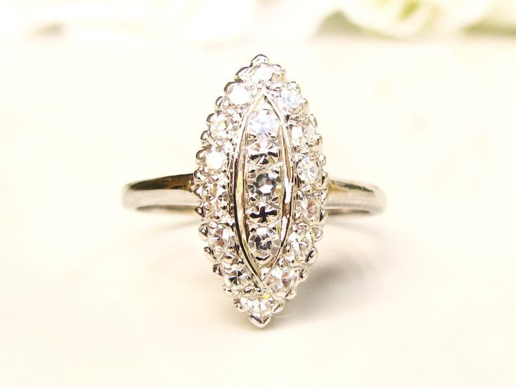 Marquise Cluster Diamond Engagement Ring