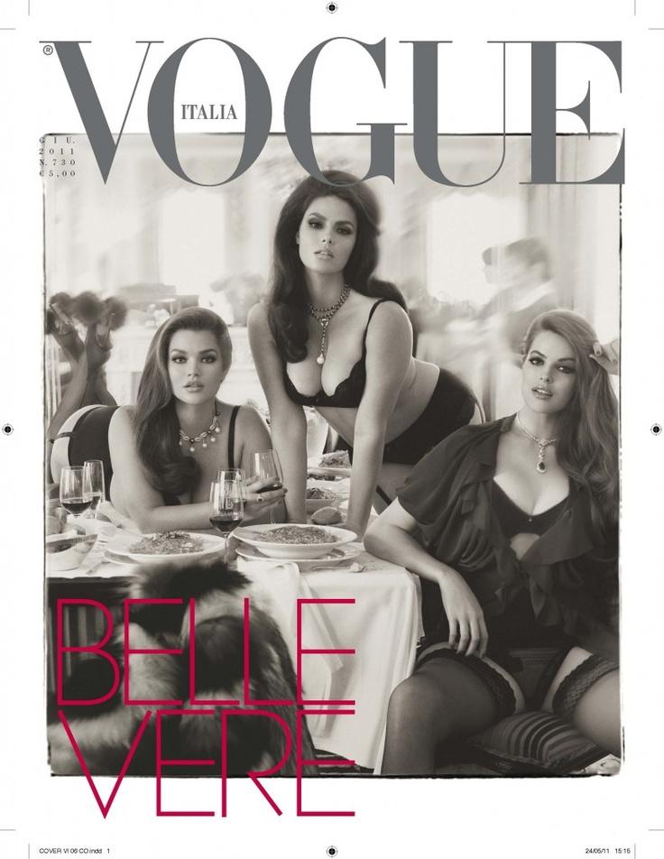 Vogue plus size model cover - Ik ben heel erg voor de opkomst van de plus size modellen. Daarbij vind ik dit een hele zachte glamorous foto, erg mooi. Bron: italian vogue