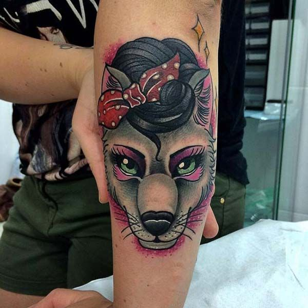 pin up vintage wolf tattoo