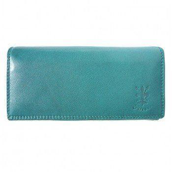 - Zacht kalf leder portemonnee in turquoaise kleur