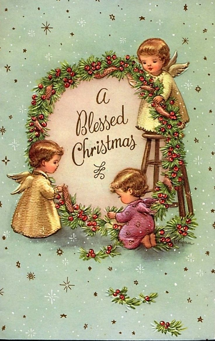 Wreath from old christmas cards -  A Blessed Christmas Vintage Card With Three Little Angles Making A Holly Wreath Around The Message Old Christmas Angels Postcard