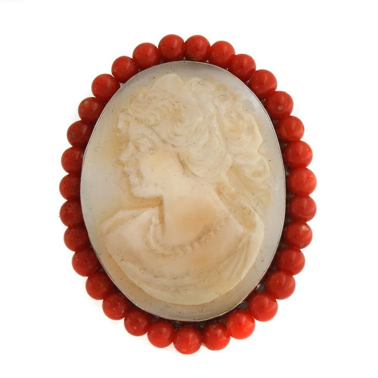 Italy Cameo by M+M Scognamiglio Sterling Cornelian Coral Frame Oval Ring Size 6 #ItalyCameobyMMScognamiglio #Fashion