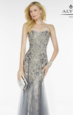 Strapless Lace Gown by Alyce Black Label 5773