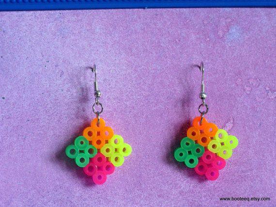Diamond Earrings: Perler Beads