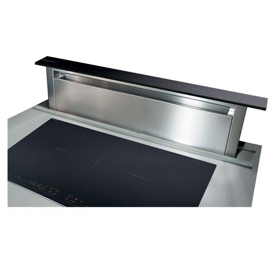 This stylish downdraft extractor fan rises up from your worktop when you're cooking, then sinks away when not in use. Often used on island units or where wall space is short. By De Dietrich