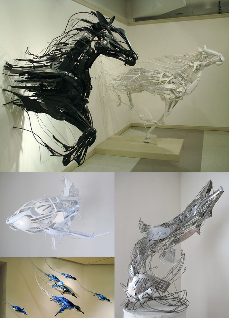 .: Hors Sculpture, Hors Art, Amazing Sculpture, Horses Sculpture, Kitchens Utensils, Art Wire Hors, Animal Sculpture, Wild Hors, Recycled Art