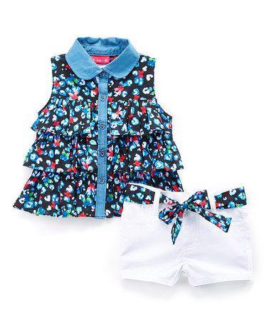 Look at this #zulilyfind! Black Floral Sleeveless Button-Up & White Belted Shorts - Girls #zulilyfinds