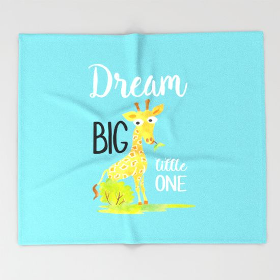 Dream big little one giraffe baby or kids blanket. Our seriously soft throw blankets are available in three sizes and feature vividly colored artwork on one side. Made of 100% polyester and sherpa fleece, these might be the softest blankets on the planet, so get ready to cozy up.