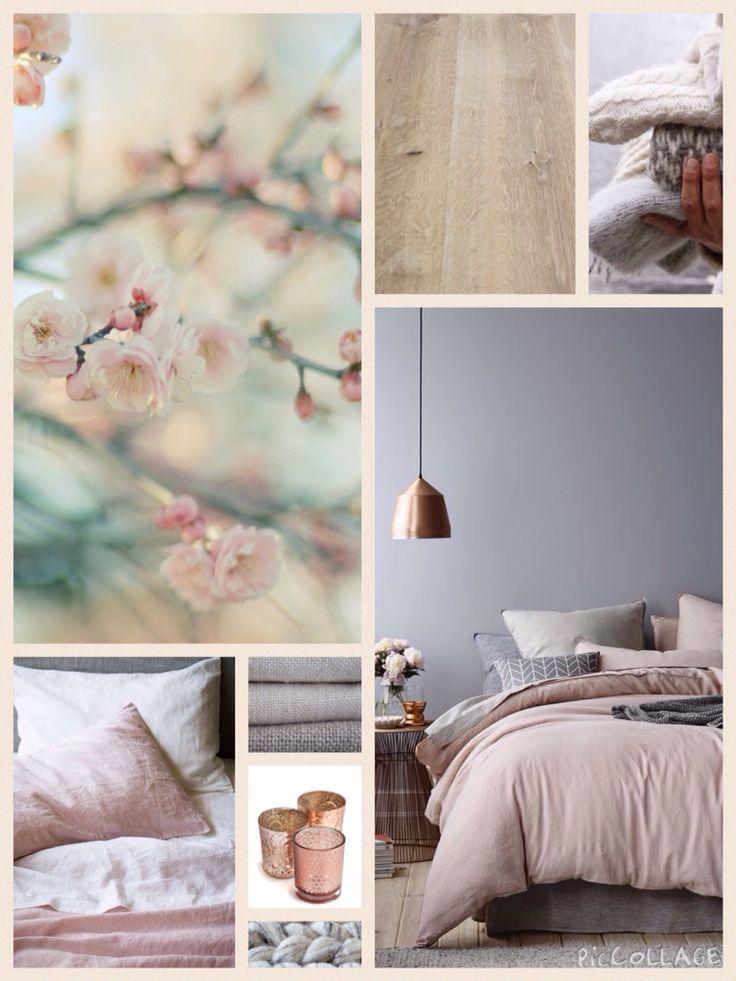 Moodboard bedroom grey blush copper inspiration