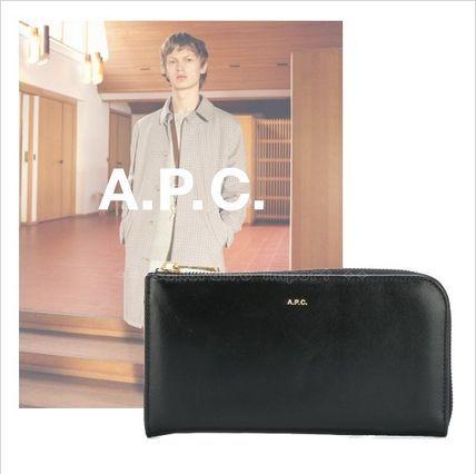 ●定番人気●A.P.C シンプル ジップ レザー長財布 ブラック A.P.C アーペーセー 2017 ファッション