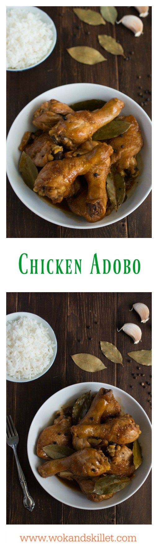 Chicken Adobo is a Filipino classic that has been dubbed the unofficial dish of the Philippines. A simple blend of soy sauce, garlic, vinegar with bay leaves and whole peppercorns yields one of the most incredible sauces you have ever tasted.