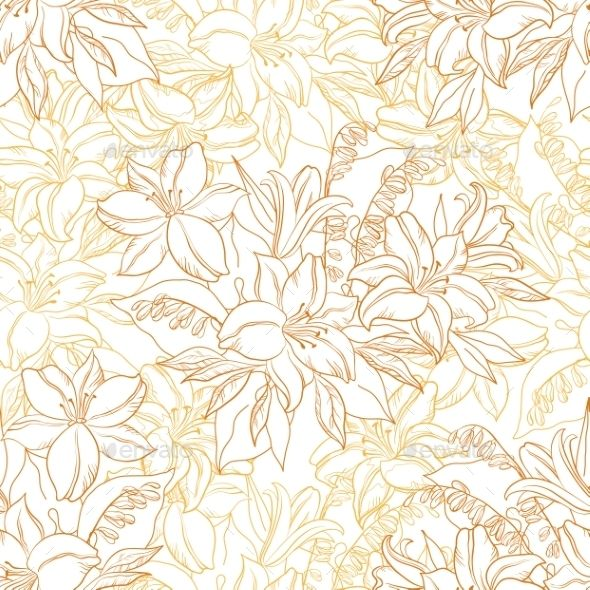 Seamless Pattern, Lily Flowers Contours #background Download: http://graphicriver.net/item/seamless-pattern-lily-flowers-contours/12744506?ref=ksioks