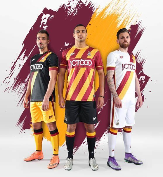 Novas camisas Avec do Bradford City