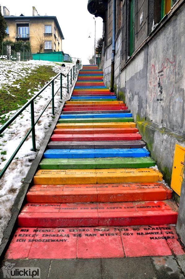 Geociekawostki: Color stairs, Krakow, Poland
