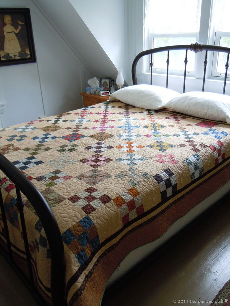 The painted quilt pretty and simple xx quilty quilts for Quilted bed frame