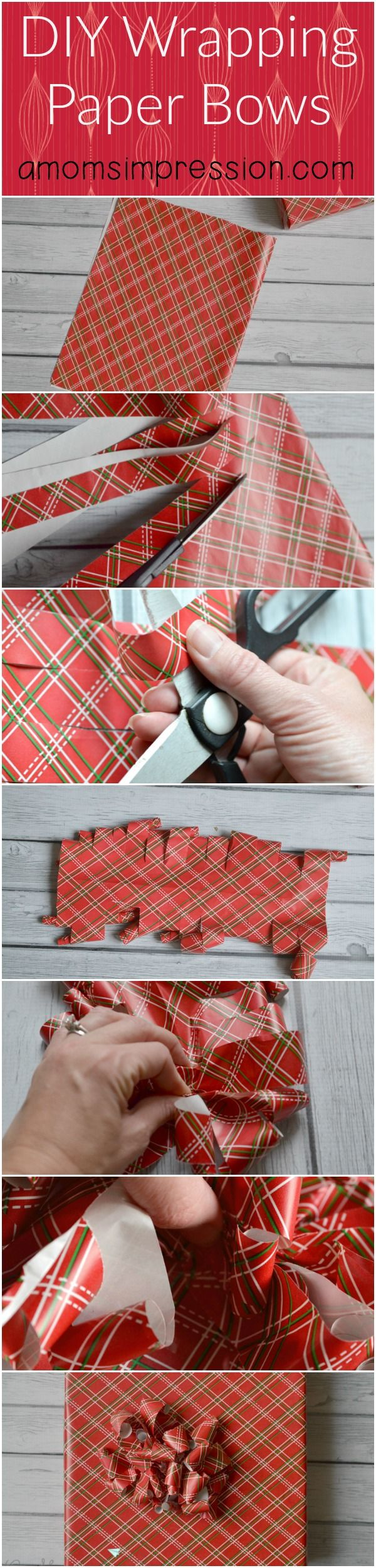 DIY Wrapping Paper Bows an easy and quick tutorial on how to make fabulous bows out of any wrapping paper. Perfect for holiday gifts.