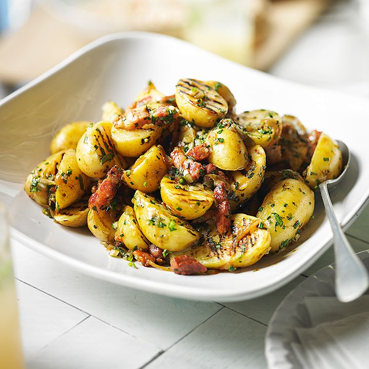 Why not try Heston's warm potato salad. Find the recipe here: http://www.waitrose.com/content/waitrose/en/home/recipes/recipe_directory/h/heston_s_warm_potatosalad.html