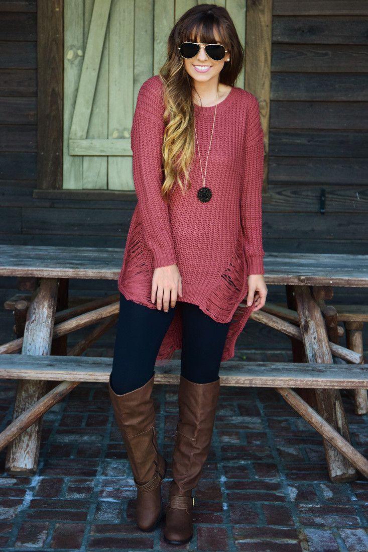 Hanging By A Thread Sweater: Dusty Cedar #shophopes