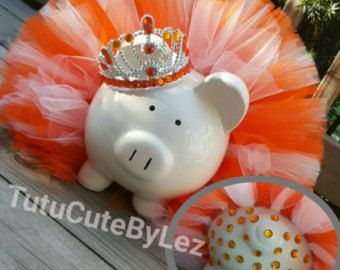 Pink Teal and Lime Green Tutu Piggy Bank with Jewels by TuTuCutee