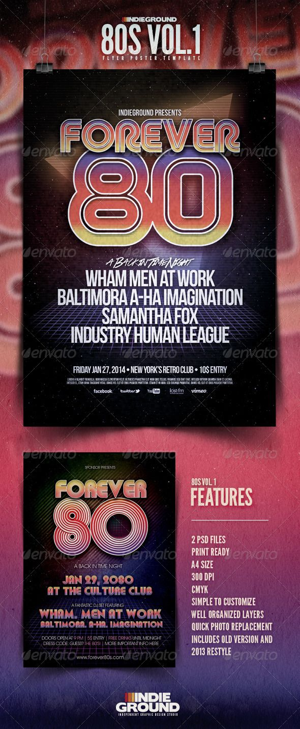 "80's Flyer/Poster  #GraphicRiver         80s Flyer/Poster Template Vol.1 ""Forever 80"" – This flyer was designed to promote an 80s Revival Party but you can also use it to promote a Pop / Electro / 90s / Retro music event, such as a gig, concert, festival or weekly event in a music club and other kind of special evenings. This poster can also be used for an album promotion or other advertising purposes. Features   3 Psd Files  Print Ready  A4 Size / 21×29,7 cm  300 dpi / CMYK  Simple to…"