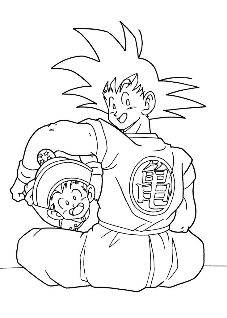dragon ball anime goku and gohan coloring pages for kids printable free - Free Printable Dragon Ball Z Colouring Pages