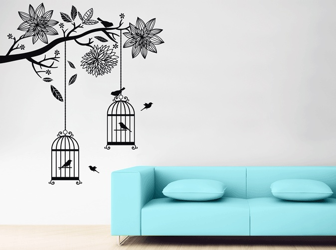 Bird Cages in Tree by www.yourdecalshop.co.nz