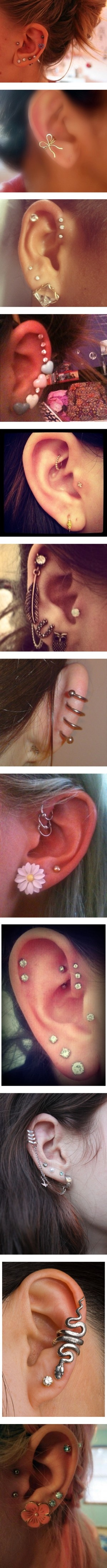 Guy at my local shop told me a triple helix will eventually turn bad with the middle hole being by the fold in your ear, but the first one here has her piercing above it... Hmm :) these are cute