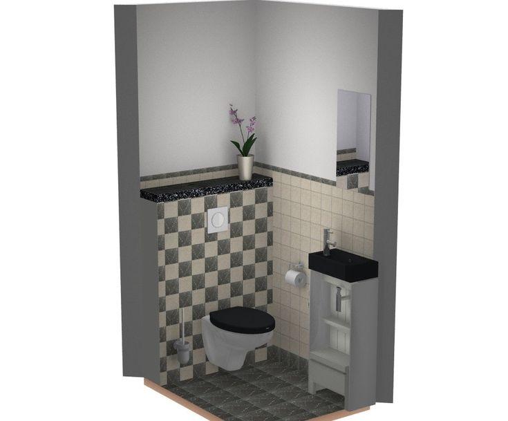 Toilet idee met marmer tegels beige / zwart