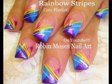 Nail Art Tutorial Rainbow Striped Nails   Chevron French Nail Design ARCOBALENO - Guardalo
