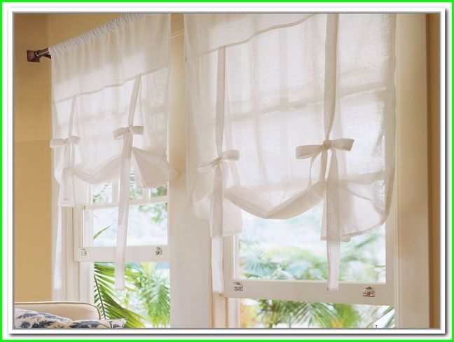 white tie up curtains