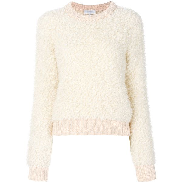 Carven fluffy jumper (456 AUD) ❤ liked on Polyvore featuring tops, sweaters, white, jumpers sweaters, carven top, white top, white sweater and white jumper