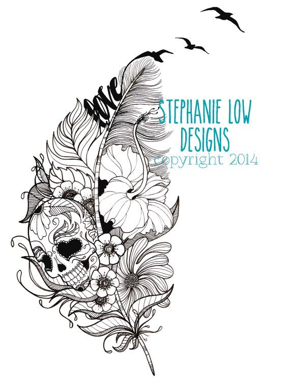 Illustration de tatouage Crâne de sucre par StephanieLowCreative