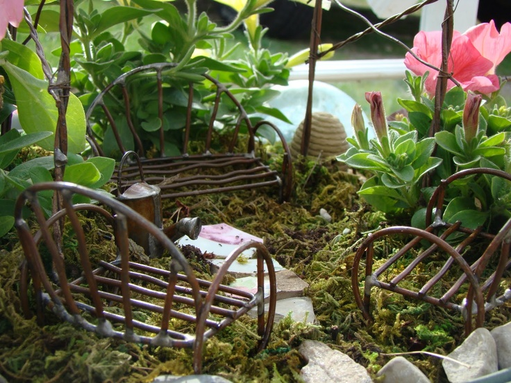fairy garden  Jeremie mini garden furniture and watering can. 77 best images about Mini Garden Furniture on Pinterest   Vines
