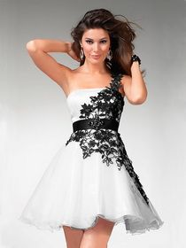 Black and white mini ball gown one shoulder with beautiful applique