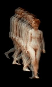 Eadweard Muybridge's woman descending a staircase and turning around