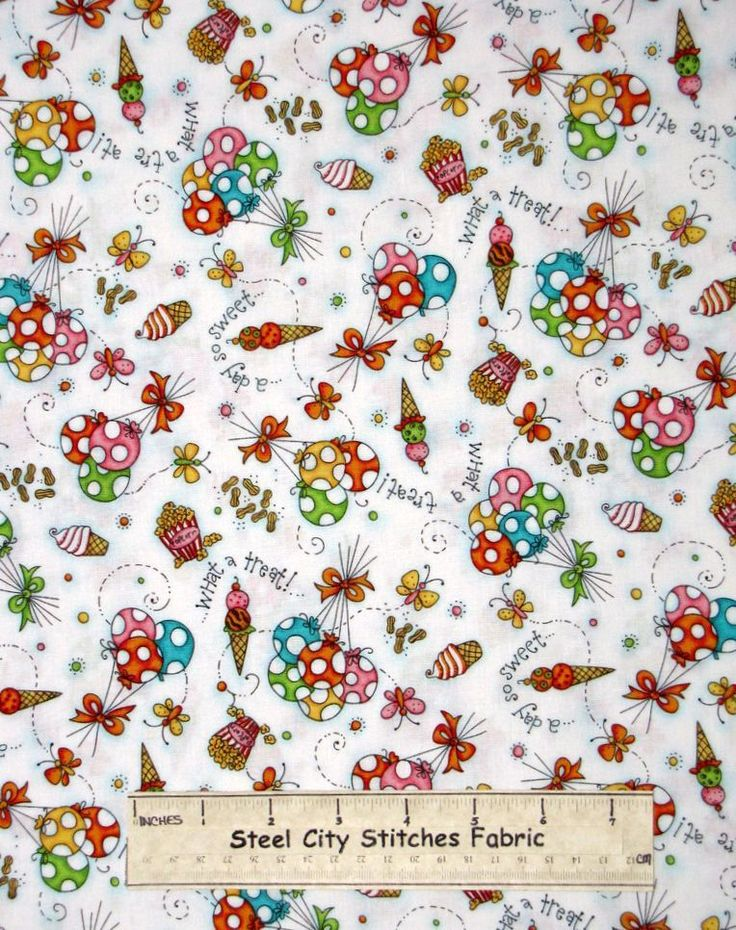 Balloon-Ice-Cream-Popcorn-Treat-Toss-White-Quilting-Treasures-Cotton-Fabric-YARD