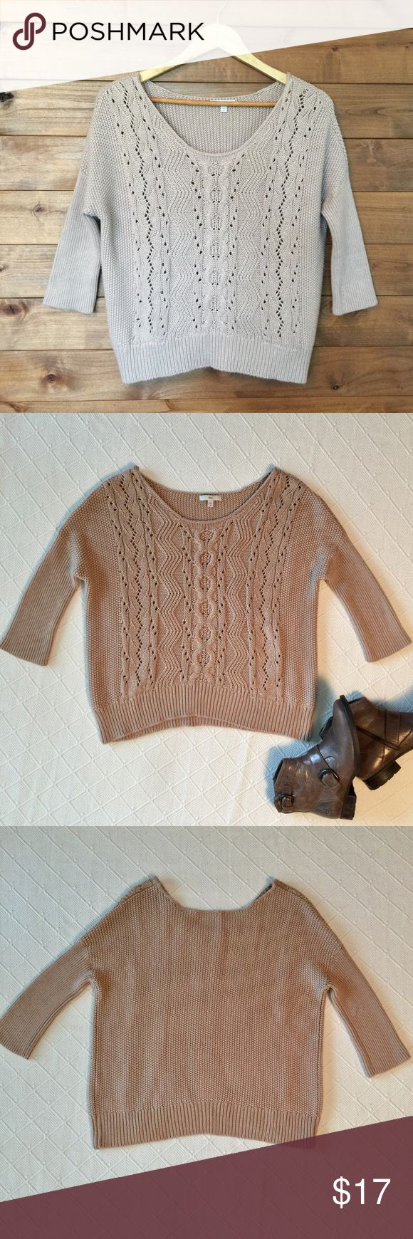 "GAP Dolman Cable Knit Sweater in Neutral Tan Gap Soft cable knit 3/4 fitted sleeves. Scoop neckline. Ribbed trim throughout.  ▪️Color: Toupe/ Tan ▪️Fabric: 45% Acrylic 45% Nylons 10% Wool ▪️Size: Med. ▪️Bust: 22"" ▪️Length: 20"" shortest 31"" longest ▪️Excellent. No pilling or flaws. GAP Sweaters"