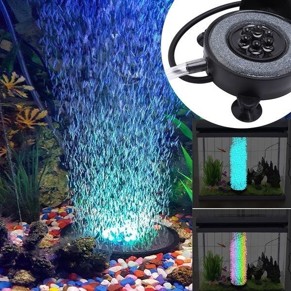 Multi Colored Led Aquarium Light Air Stone Disk Fish Tank Bubbler With Auto Color Changing Led Lamp Home In 2020 Color Changing Led Aquarium Lighting Multi Color Led