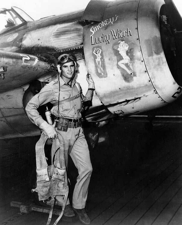 """August 1, 1944 USS Gambier Bay Darrell Bennett  by his FM-2 Wildcat """"Smokey's Lucky Witch"""""""