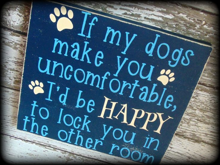 """If my dogs make you uncomfortable, I'd be HAPPY to lock you in the other room."" This funny sign is the perfect gift for any dog lover. (Makes a great housewarming gift too) This sign is handcrafted a"