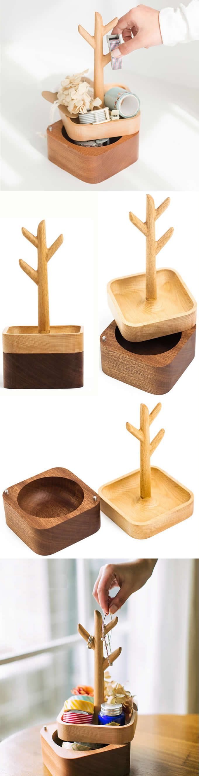 2 Tier Wooden Tree Office Desk Stationery Organizer Jewelry Ornaments display Organizer Box Holder