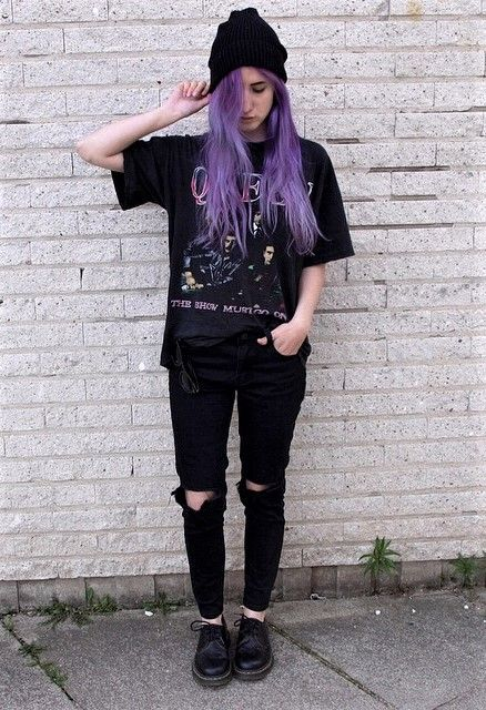Black beanie hat, Queen vintage shirt, ripped pants & vintage Dr Martens boots by aliencreature