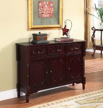 Amazon.com: King's Brand R1021 Wood Console Sideboard Table with Drawers and Storage, Cherry Finish: Home & Kitchen
